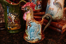 Antique French Majolica Pitcher Rooster Barbotine Onnaing Chante Chicken