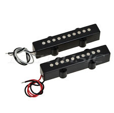 Pair of 5 String Bridge Neck Pickups Set for Fender Jazz Bass Black Open Style