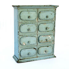 Antique 8-Drawer Painted Tin Spice Box Cabinet Apothecary French Country Kitchen