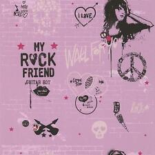 NEW GALERIE YOLO PINK WALL GRAFFITI SILVER SKULL PATTERN GIRL WALLPAPER 51140303