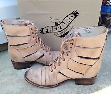 EUC Free People $245 Freebird by Steven Heaven Tan Strappy Boots 10 Moto Cutout