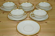 "Vignaud VIG64 Limoges Set of (5) Cream Soup Bowls, 4 7/8"" & (6) Saucers, 6 7/8"""