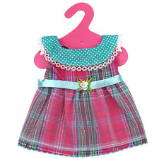 """For 15"""" 16"""" Baby Alive Doll Girl Clothes Plaid Pink Green Casual Party Dress"""