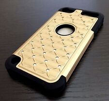 iPod Touch 5th 6th Gen - HARD & SOFT RUBBER HYBRID DIAMOND BLING CASE GOLD BLACK