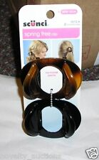 C47 SCUNCI SPRING FREE HAIR JAW  CLIPS 2 PCS BROWN AND BLACK 38272
