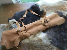 Native American Flute Bag -- Flute Roll-up -- Leather hand stitched all-natural