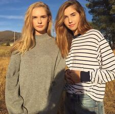 brandy melville Navy Blue White Striped long sleeve Crewneck Gretchen Top NWT
