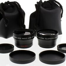 WIDE ANGLE + TELE PHOTO LENS SET FOR 30mm SONY CAMCORD HDR-HC3,DCR-SR55,DCR-SR68