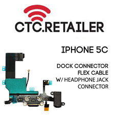 Replacement iPhone 5c Lightning Dock Connector + Headphone Jack Flex Cable Black