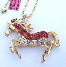 Betsey Johnson  Flashes red crystal running horse pendant Necklace