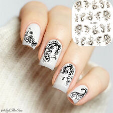1 Sheet Arabesque Pattern Water Decals Nail Art Transfers Sticker #BLE891