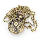 Vintage Retro Bronze Pattern Quartz Flower Pendant Necklace Chain Pocket Watch
