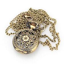 Vintage Retro Bronze Pattern Quartz Flower  Pendant Necklace Chain Pocket Watch