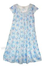 Blue SILKY FLORAL LACE SHORT SLEEVE WOMENS NIGHTGOWN SLEEPWEAR #9029- Sz L