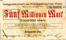 1923 Germany Phalz 5000000 / 5 Million Mark Banknote