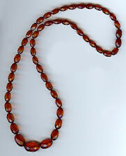 VINTAGE GRADUATING SIZE FACETED CHERRY AMBER BAKELITE NECKLACE