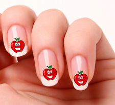 20 NAIL ART ADESIVI trasferimenti Decalcomanie # 558-Carino RED APPLE PEEL & STICK