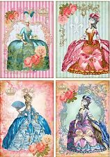 Vintage inspired Marie Antoinette stripe small note cards tags 8 scrapbooking