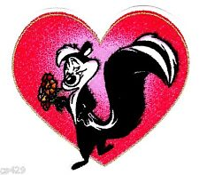 "2"" LOONEY TUNES HEART PEPE LE PEW FABRIC APPLIQUE IRON ON CHARACTER"