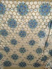 "BEIGE BLUE CUTOUT GUIPURE FRENCH VENICE BRIDAL LACE FABRIC 52"" 1 YARD"