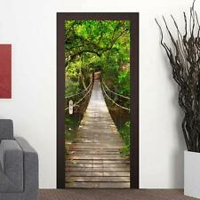 Door Stickers Mural Fridge Wall Decor Photo Forest Bridge Wallpaper Home Decal