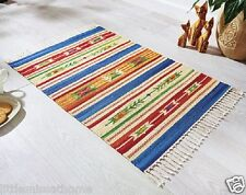 KELIM RUG * COTTON TASSEL-BORDERED 90x60cm ETHNIC INCA RUNNER MAT BRIGHT COLORED