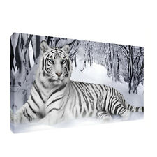 White Tiger Snow Forest Canvas 20x30 inch Wall Art Picture for Any room