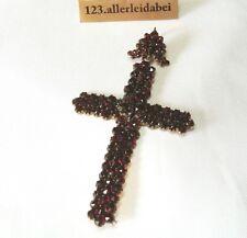 Großes Granat Kreuz Anhänger old garnet Pendant Kettenanhänger / AR 379