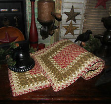 """Primitive Antique Vtg Style New Cotton Braided 48"""" Table Runner Rectangle #24"""
