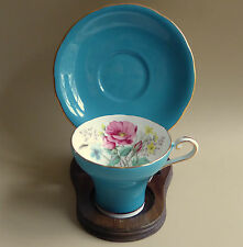 Aynsley Corset Tea Cup Saucer Floral Wild Rose Turq Blue Scalloped England Vtg