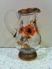 VINTAGE GOLD RIMMED CLEAR GLASS SMALL JUG WITH HAND PAINTED ORANGE FLOWERS