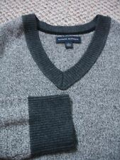 mens banana republic wool blend v-neck two tone color block sweater large WM12A