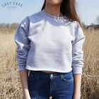 * Plain Crop Sweater Jumper Top Grunge Cropped Basic Grey Black White Sport *