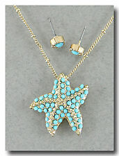 "Gold Tone Chain Sea Life Faux Turquoise ""Coral"" Starfish Star Fish Necklace"