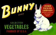 Salinas Monterey County Bunny White Rabbit Easter Vegetable Crate Label Print