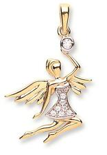 Solid 9ct Gold Flying Guardian Angel With Wings CZ Pendant Charm Gift Boxed