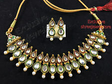 Designer Gold Plated Kundan Diamonds Necklace Earring Ethnic Party Jewellery Set