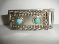 Vintage Mexico  sterling silver  turquoise belt buckle