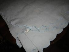 SFERRA LIGHT BLUE FLORAL SCROLL SCALLOPED MATELASSE QUILTED QUEEN COVERLET 96X88