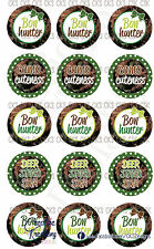 "(15)  1"" Precut Bottle Cap Images Camo Bow Hunter"