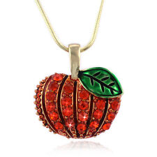 Fall Harvest Pumpkin Pendant Necklace Halloween Thanksgiving Bling Jewelry