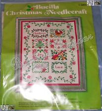 Vtg Bucilla CHRISTMAS TIDINGS Sampler Crewel Embroidery Picture Kit