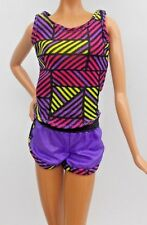 2016 BARBIE EXERCISE FUN DOLL WORKOUT TOP & SHORTS GYM OUTFIT 2 PC CLOTHING