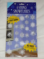 6 STRINGS SNOWFLAKES CHRISTMAS DECORATION GARLAND PARTY SILVER & WHITE SNOW