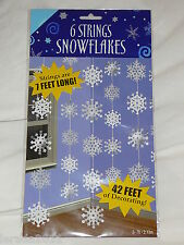 6 STRINGS SNOWFLAKES CHRISTMAS DECORATION GARLAND FROZEN PARTY SILVER & WHITE