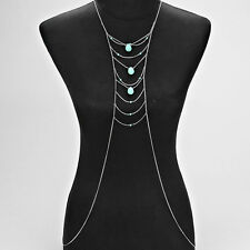 Silver and Turquoise Body Chain