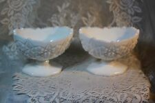 Vintage PAIR Kemple Milk Glass Candle Holders Stamped Diamond Flower Pattern