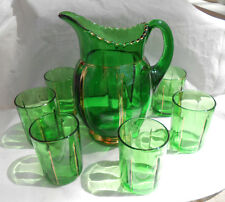RIVERSIDE X RAY GREEN EMERALD WATER PITCHER GLASSES 7 PC EAPG VICTIORIAN 1899