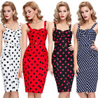 Lady Retro 50's Polka Dot Vintage Pencil Wiggle Pin up Cocktail Dress