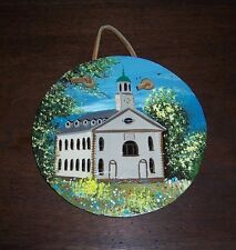 Original Hand Painted Painting of Church / School on Round Slate - Signed GW